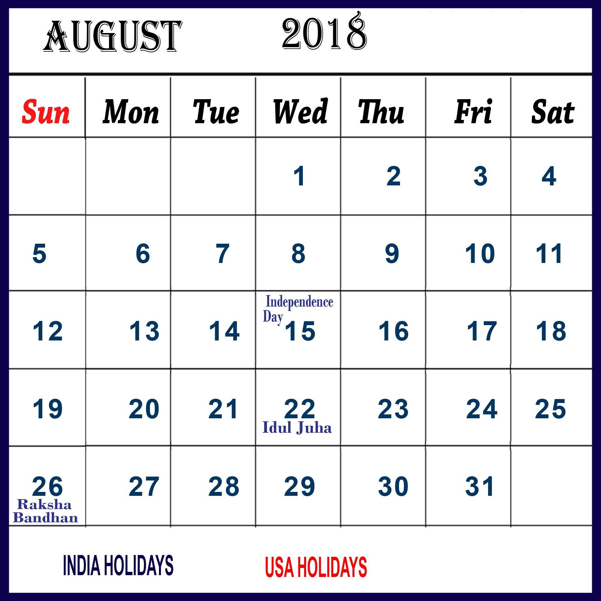 August 2018 Calendar India Tamil Telugu Free Printable