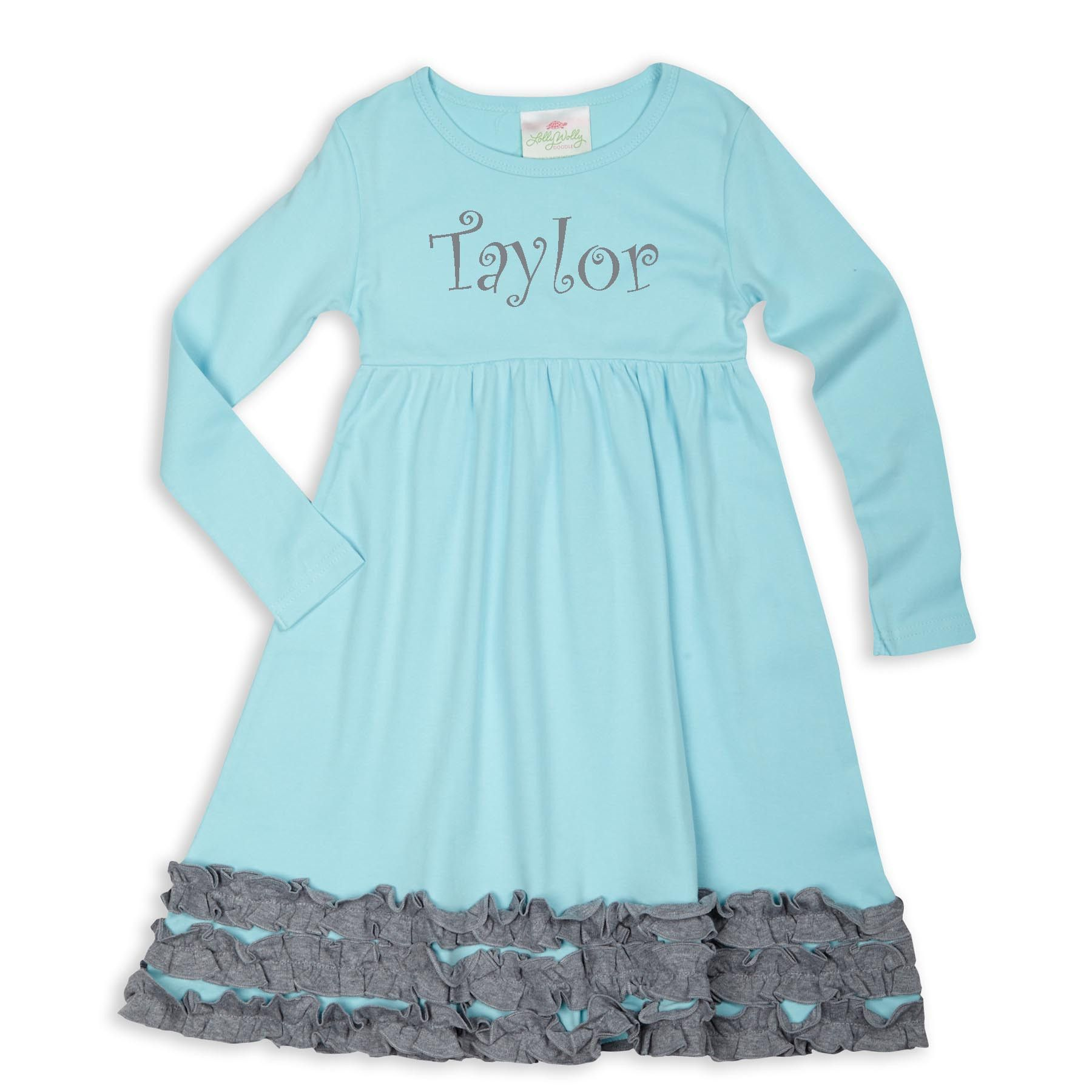 Swoon! Love this Aqua Gray Long Sleeve Squinchy Cotton Dress I discovered at lollywollydoodle.com and for only $22! Click the image above to get a $5 off coupon code for your next order!
