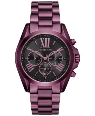 621a398d9 Michael Kors Women's Chronograph Bradshaw Plum Stainless Steel Bracelet  Watch 43mm MK6398 - Limited Edition