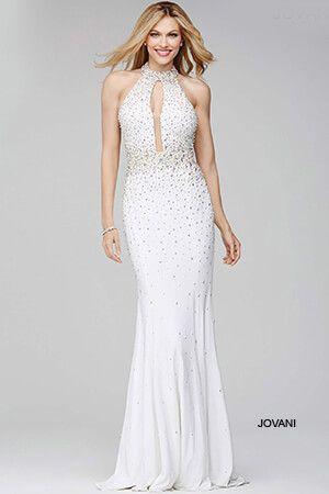 Jovani Prom Dresses Halter White