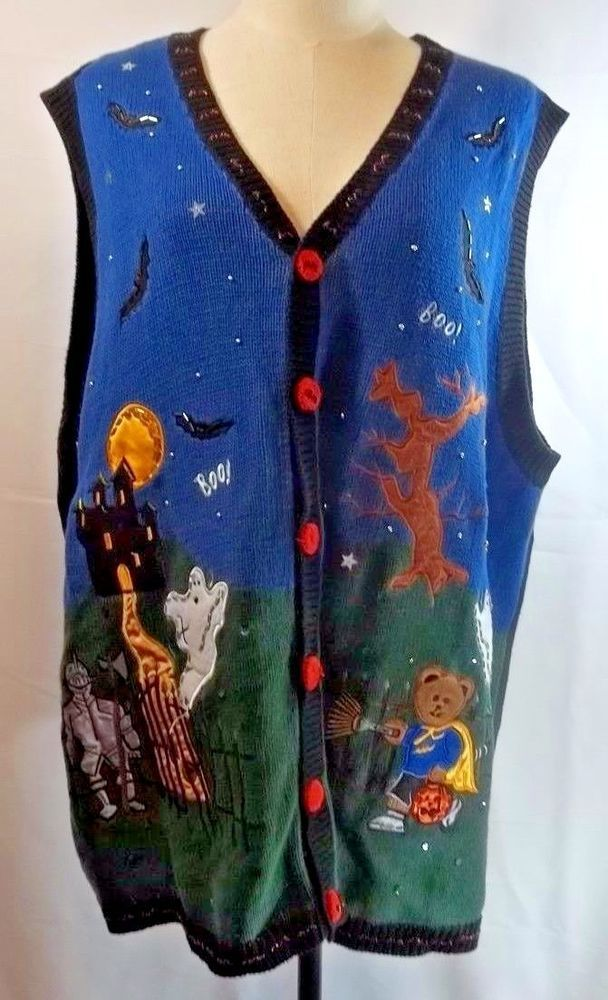 Halloween Sweater Vest Ugly Haunted House Ghosts 3X Holiday ...
