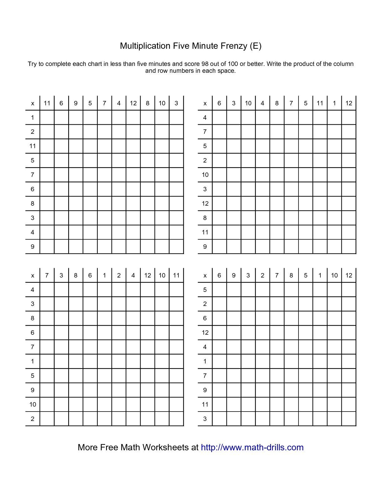 supérieur The Five Minute Frenzy -- Four per page (E) math worksheet from the  Multiplication Worksheet page at Math-Drills.com.