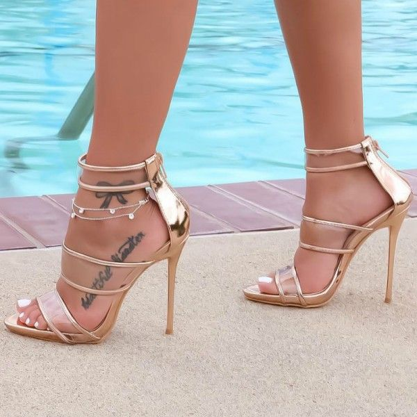 80607e07e9 Women's Style Gladiator Sandals Champagne Gladiator Sandals Stilettos High  Heels Fall Outfits 2017 Fall Fashion Trends