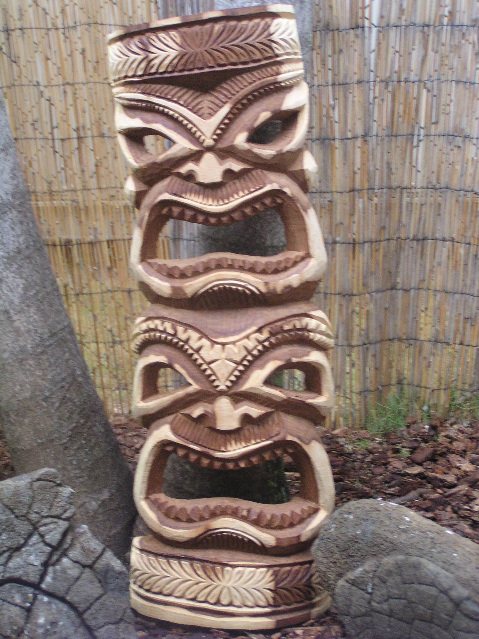 Wood carved tiki mask totem i am freaky