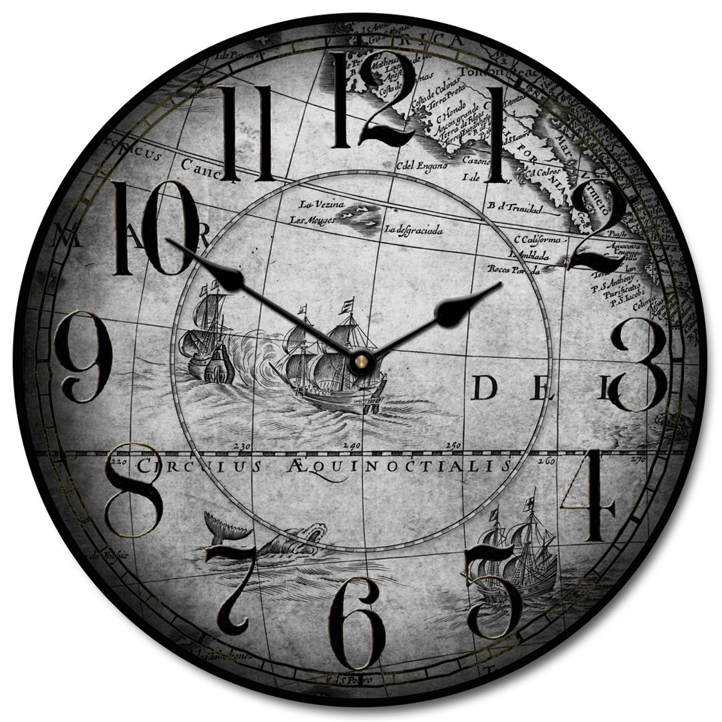 Large Wall Clocks Gray Map Vintage Clocks Home Decor
