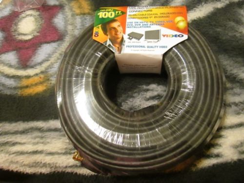 """Trisonic RG-59U Coaxial Cable with Gold Plated """"F"""" Connectors 100 ft"""