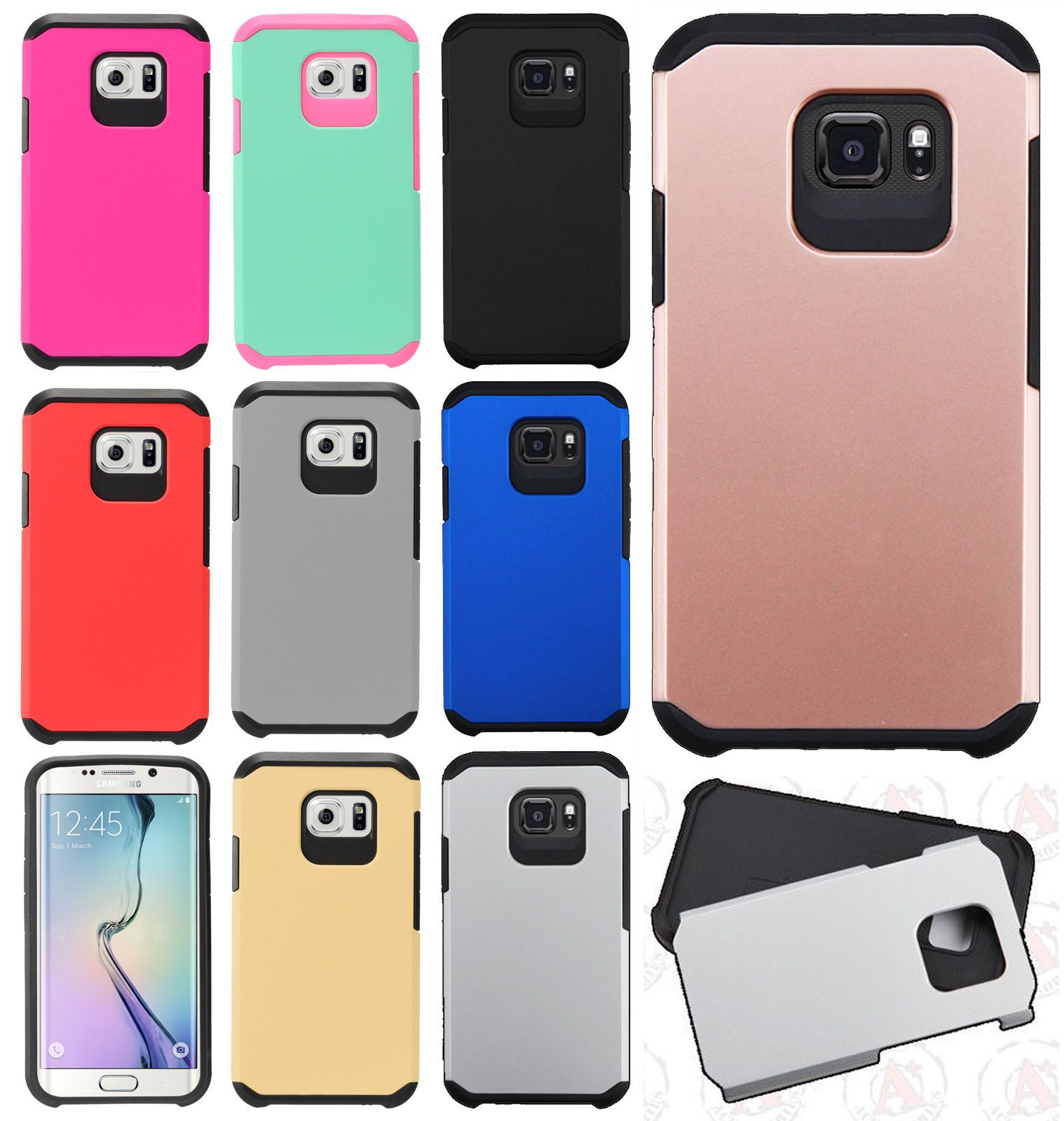 For Samsung Galaxy S7 Active Hard Hybrid Rubber Silicone Case Screen Protector