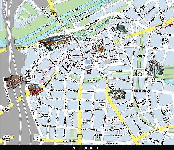 nice Map of EssenDsseldorf Tourist Holidaymapq Pinterest