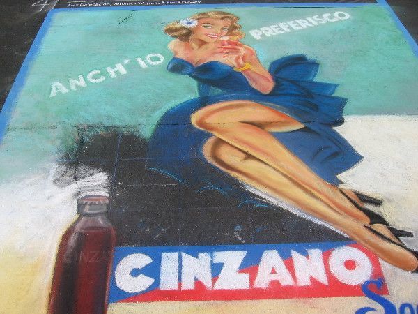 A classic Cinzano label reproduced with chalk art.