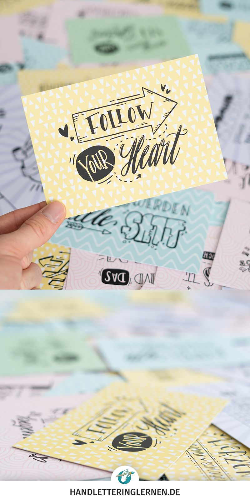 Follow your heart - 100 Handlettering Karten
