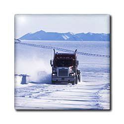 """Alaska, Truck on Dalton highway, Trans-Alaska Pipeline - US02 HRO0162 - Hugh Rose - 12 Inch Ceramic Tile by 3dRose. $22.99. Construction grade. Floor installation not recommended.. Dimensions: 12"""" H x 12"""" W x 1/4"""" D. Image applied to the top surface. High gloss finish. Clean with mild detergent. Alaska, Truck on Dalton highway, Trans-Alaska Pipeline - US02 HRO0162 - Hugh Rose Tile is great for a backsplash, countertop or as an accent. This commercial quality construction gra..."""