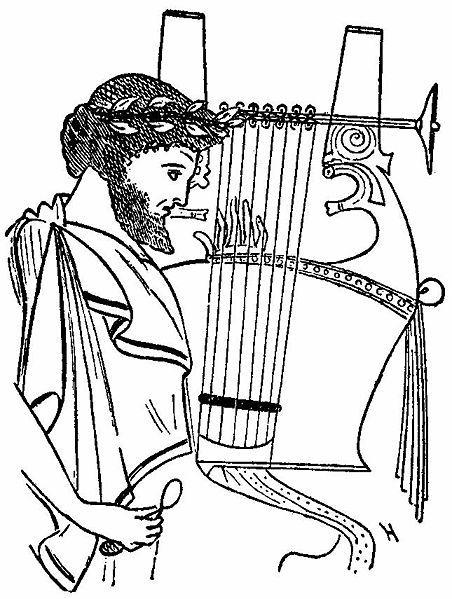 Hombre tocando una ctara Dibujo de una cermica griega