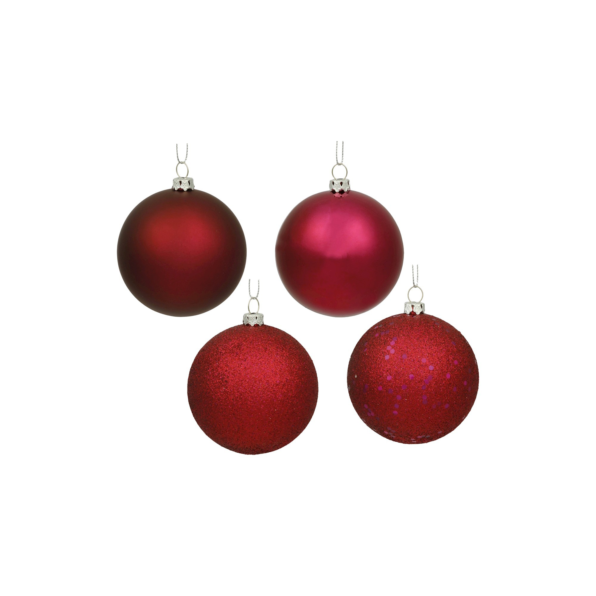 6 Assorted Ornament Ball Wine Red 4 Per Box