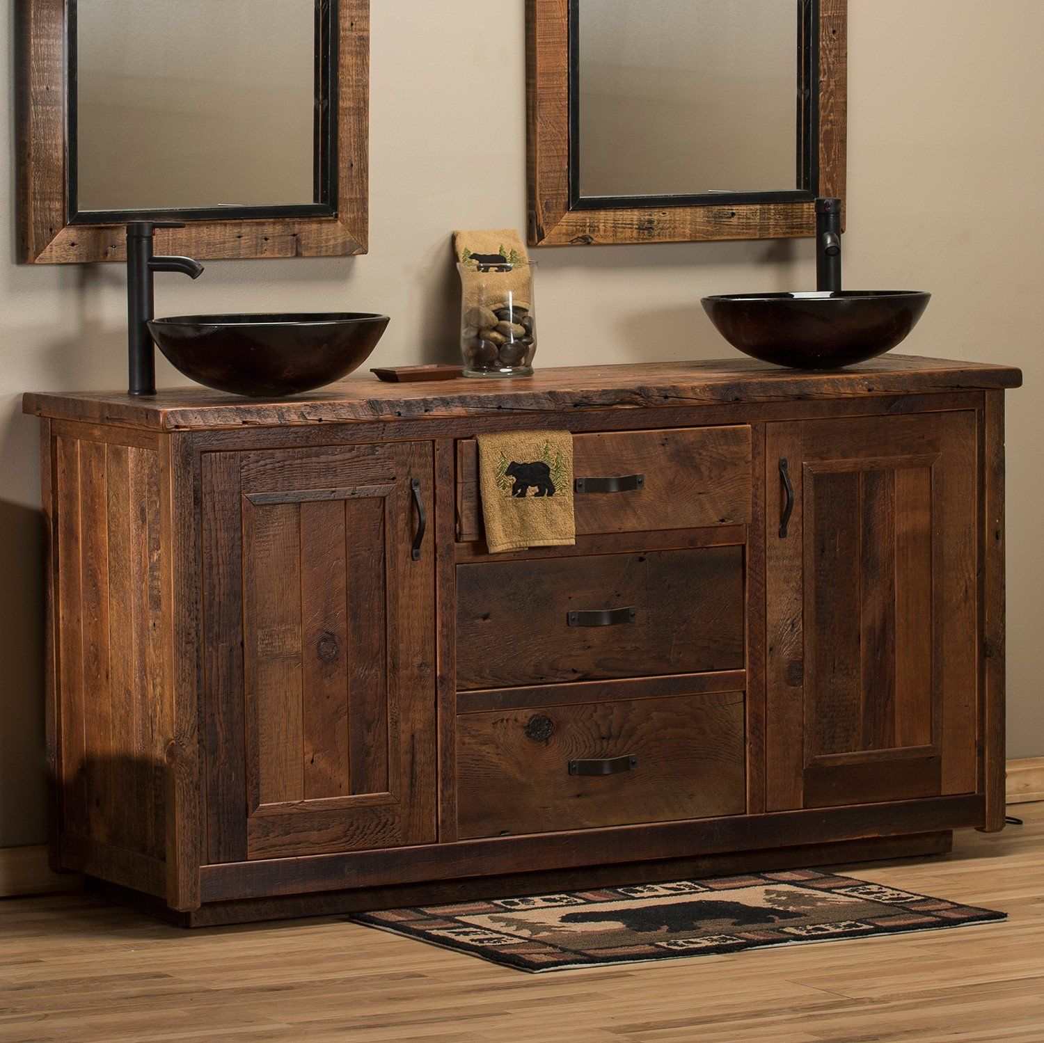 Timber Frame Barn Wood Vanity With Images Rustic Bathroom
