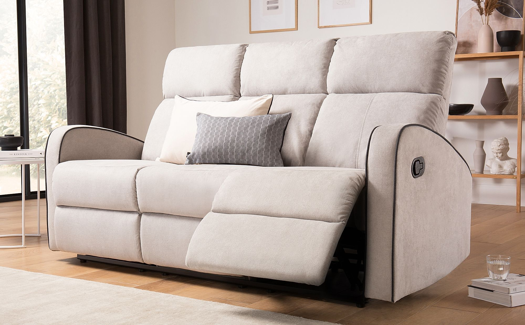 Ashby Dove Grey Plush Fabric 3 Seater Recliner Sofa Reclining
