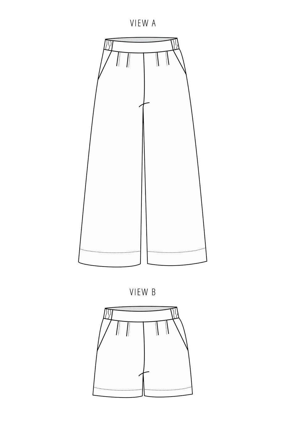Line art of the Emerson Pants by True Bias, which is a pleated cropped culotte.
