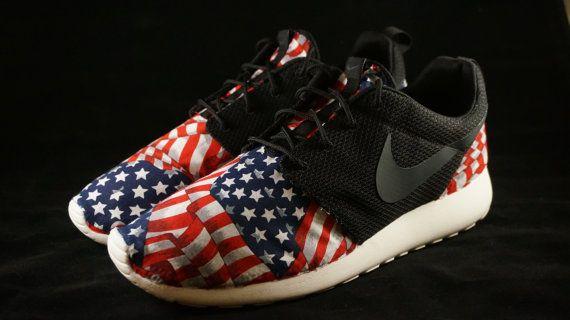 b36547aebe4 New Nike Roshe Run Custom Red White Blue American by JBCustomKicks ...
