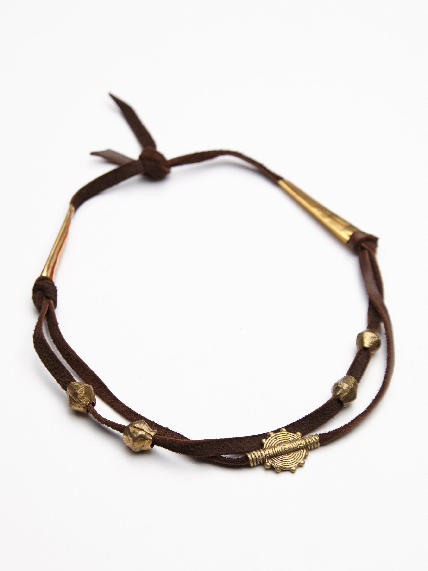 at free people Gwen Leather Choker in cognac