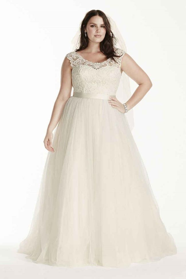 76ef6fc6a00 Wedding Dress with Lace Cap Sleeves - 25 Best Curvy Wedding Dresses for  Plus-Size Brides - EverAfterGuide