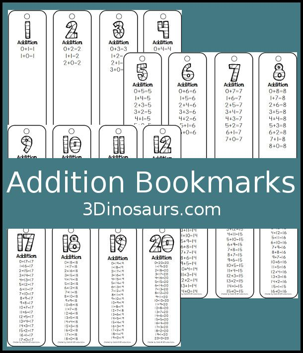 FREE Addition Bookmarks - it has addtion for 1 up to 20 on them ...