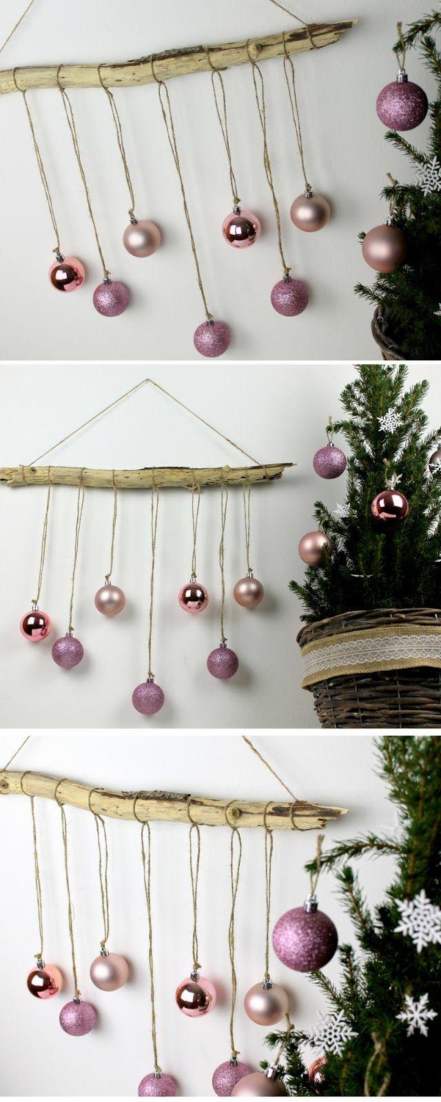 DIY weihnachtliche Wanddeko aus Treibholz + Christbaumkugeln basteln #weihnachtlichefensterdeko