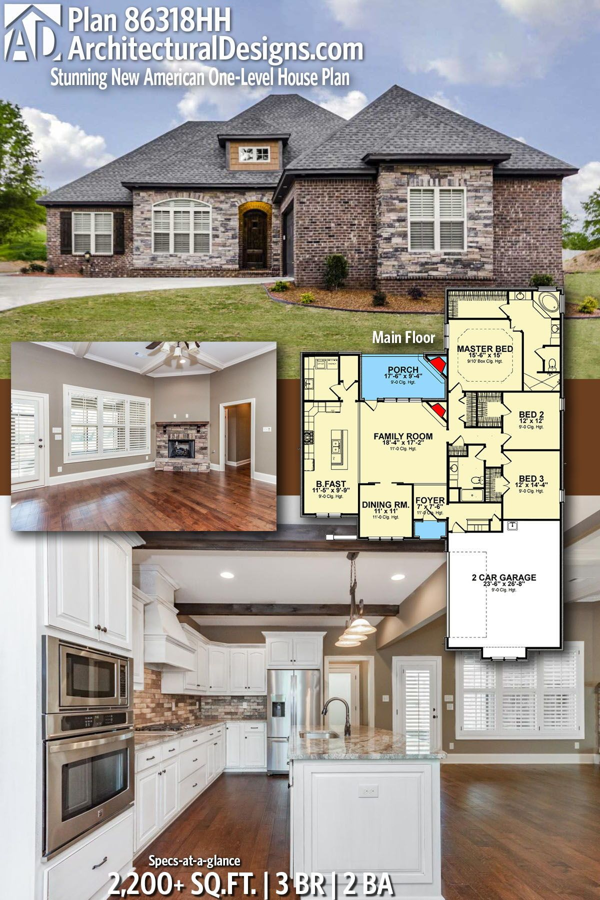Plan 86318hh Stunning New American One Level House Plan House Plans One Level House Plans Architecture House