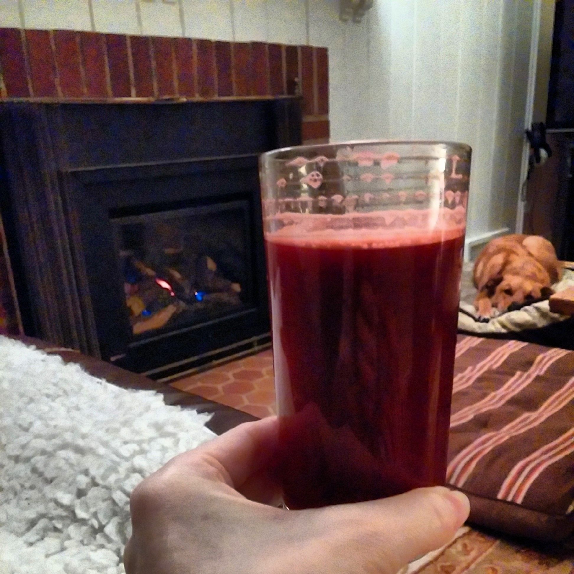 Juice with allowed low-sulfur veg: beet, carrot, celery, cucumber, apple, ginger.