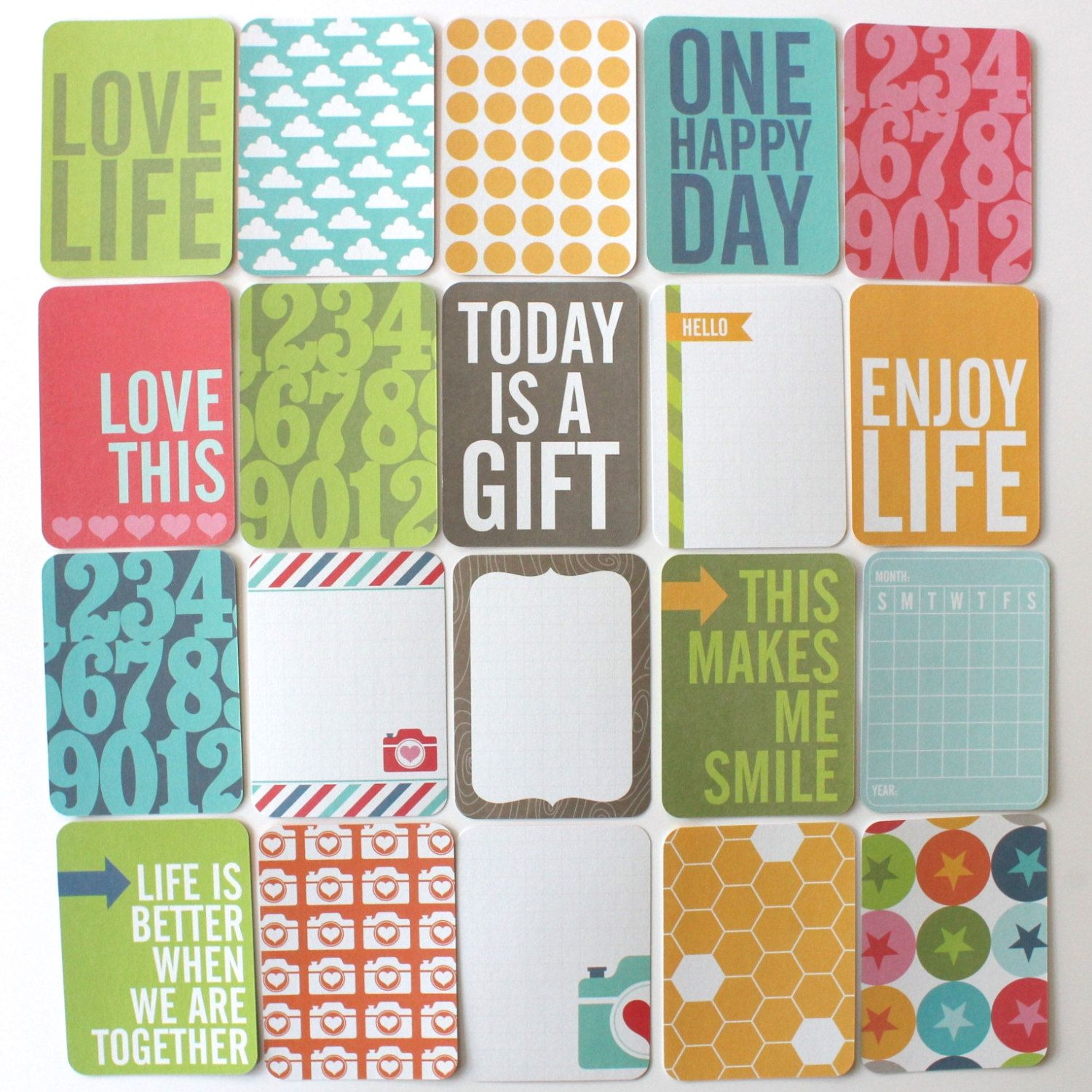 50 Project Life Cards HONEY Core Kit 3 x 4 Pocket Cards by