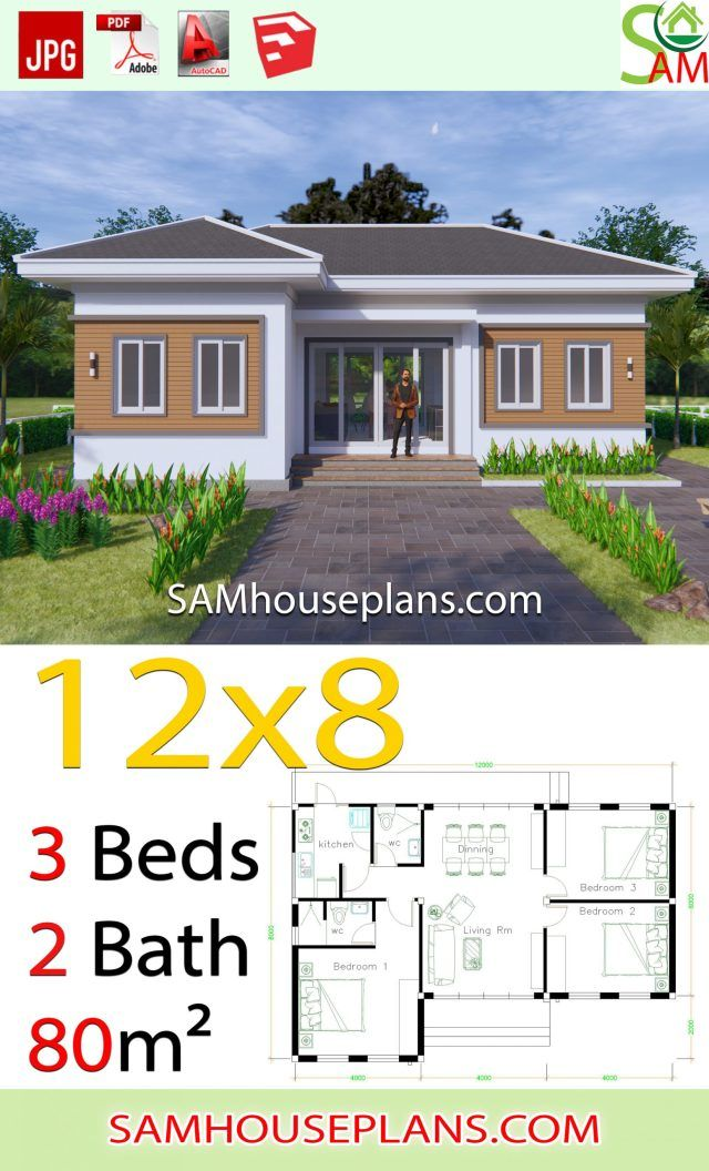 House Plans 12x8 With 3 Bedrooms Hip Roof Sam House Plans Beautiful House Plans Small House Design Plans Bungalow House Design