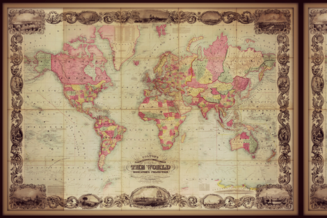 world map 7 antique and large fabric by svester on Spoonflower