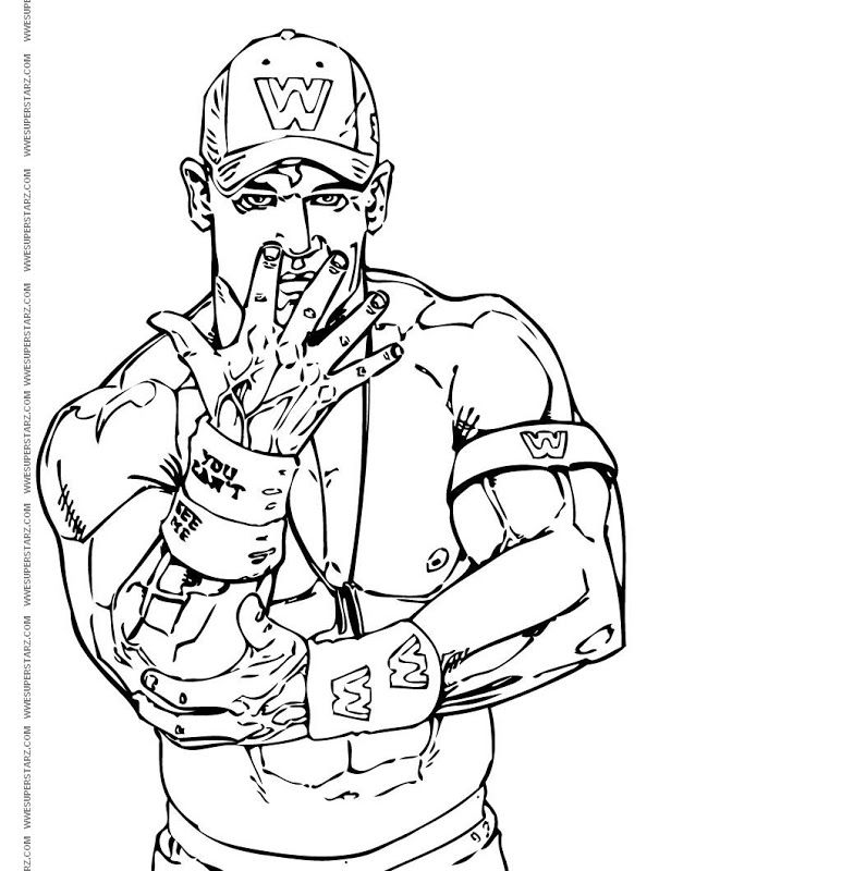 John Cena Coloring Pages Wwe Colores John Cena