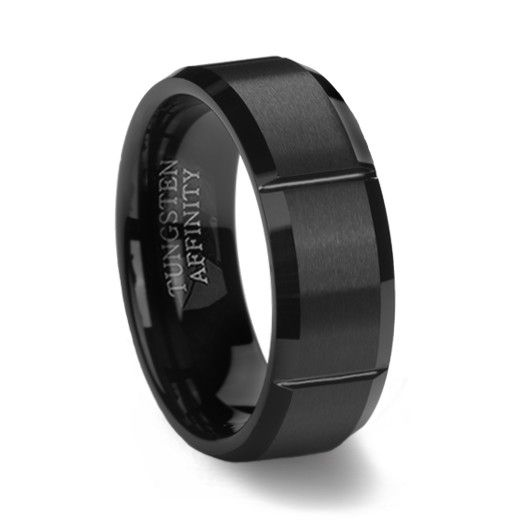 Black Slotted Mens Tungsten Ring Brushed Finish As You Wish