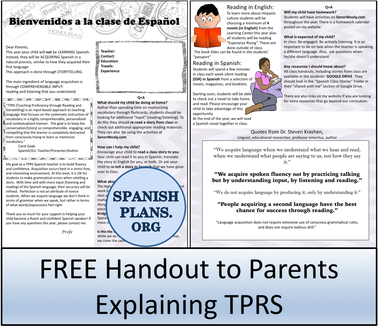 Open House Parent Night | TPRS & CI | Open house letters