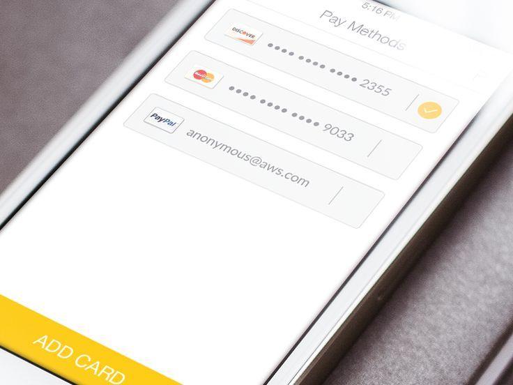 flat | Dragdis | UI Payment method | Ios app design, Mobile
