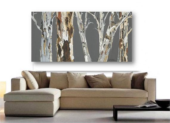 VERY LARGE Wall Art Print Tree Art Rolled Canvas Soft Pastels Gray White  Brown Burnt Orange. Living Room ...