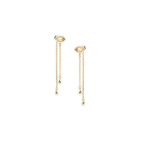 Jules Smith 14K Gold-Plated Drop Earrings ($25) ❤ liked on Polyvore featuring jewelry, earrings, gold opal, 14 karat gold jewelry, 14k earrings, gold plated drop earrings, linear earrings and linear drop earrings