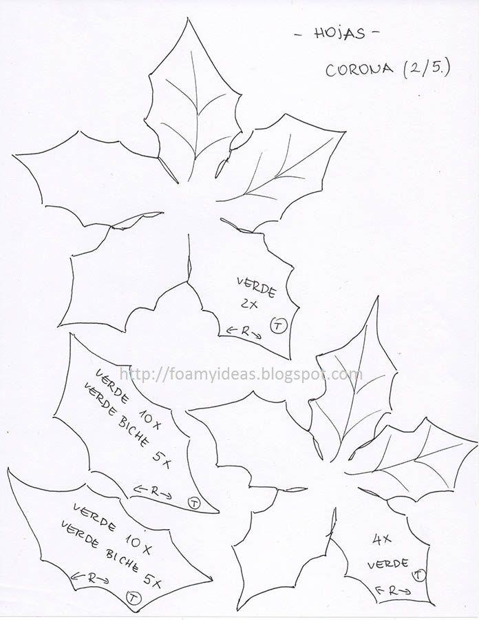 moldes de fomi para navidad flores yonaimi | FOAMYIDEAS: Corona ...