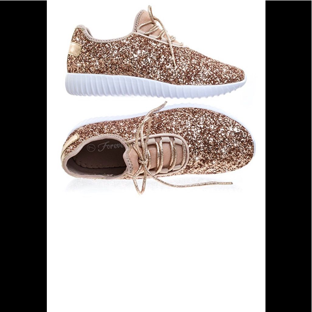 Womens Rose Gold Glitter Tennis Shoes New Color Gold
