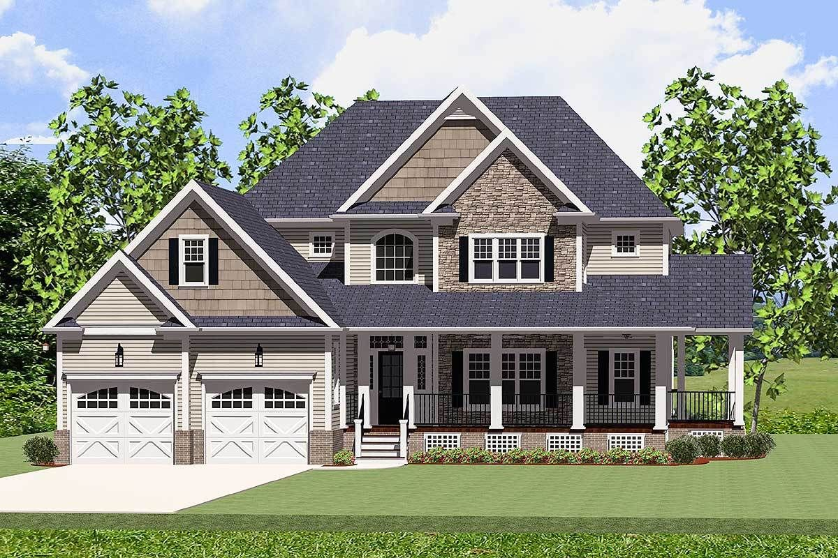 Plan 46226la Beautiful Farmhouse Home With Wrap Around Porch In 2020 Country Style House Plans Craftsman House Farmhouse Style House Plans