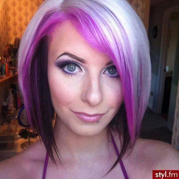 Short Blonde Hair With Dark Purple Highlights Best Image Of Blonde