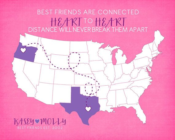Gift for Best Friend, Long Distance Friendship Quote Map Present ...