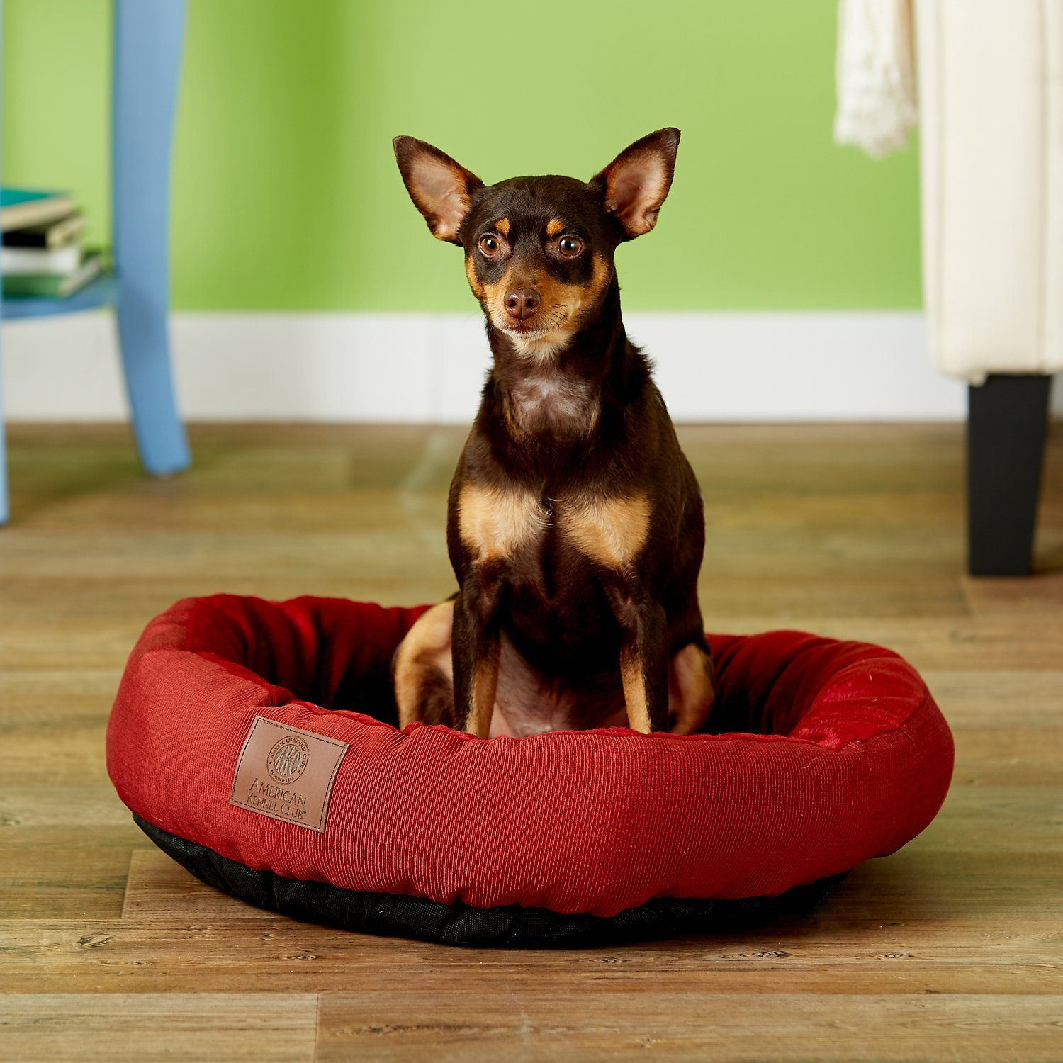 American Kennel Club Casablanca Round Pet Bed Red Chewy Com American Kennel Club Kennel Pet Beds