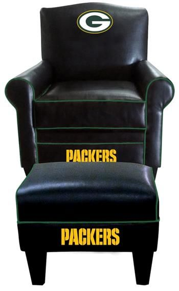 Green Bay Packers Leather Game Time Chair And Ottoman. Would Love To Have  This!