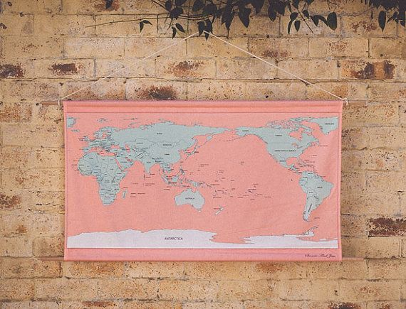 Stitch your own adventure fabric wall hanging world map with stitch your own adventure fabric wall hanging world map with embroidery kit pink and mint green gumiabroncs Choice Image