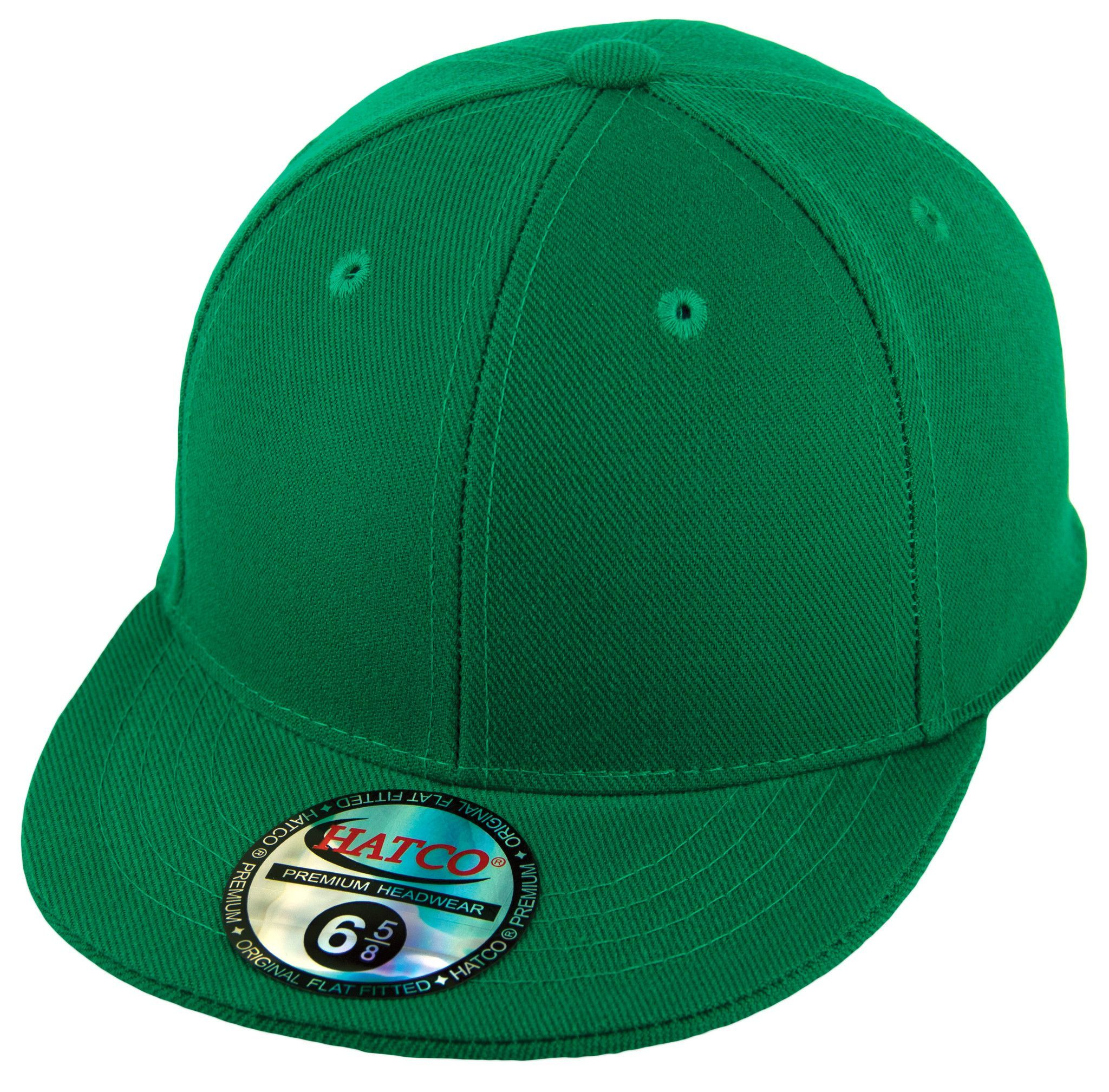 774c3e7b746511 (For Kids) Blank Fitted Pro-Baseball Style Hat made from 100% Acrylic Wool  in Kelly Green.