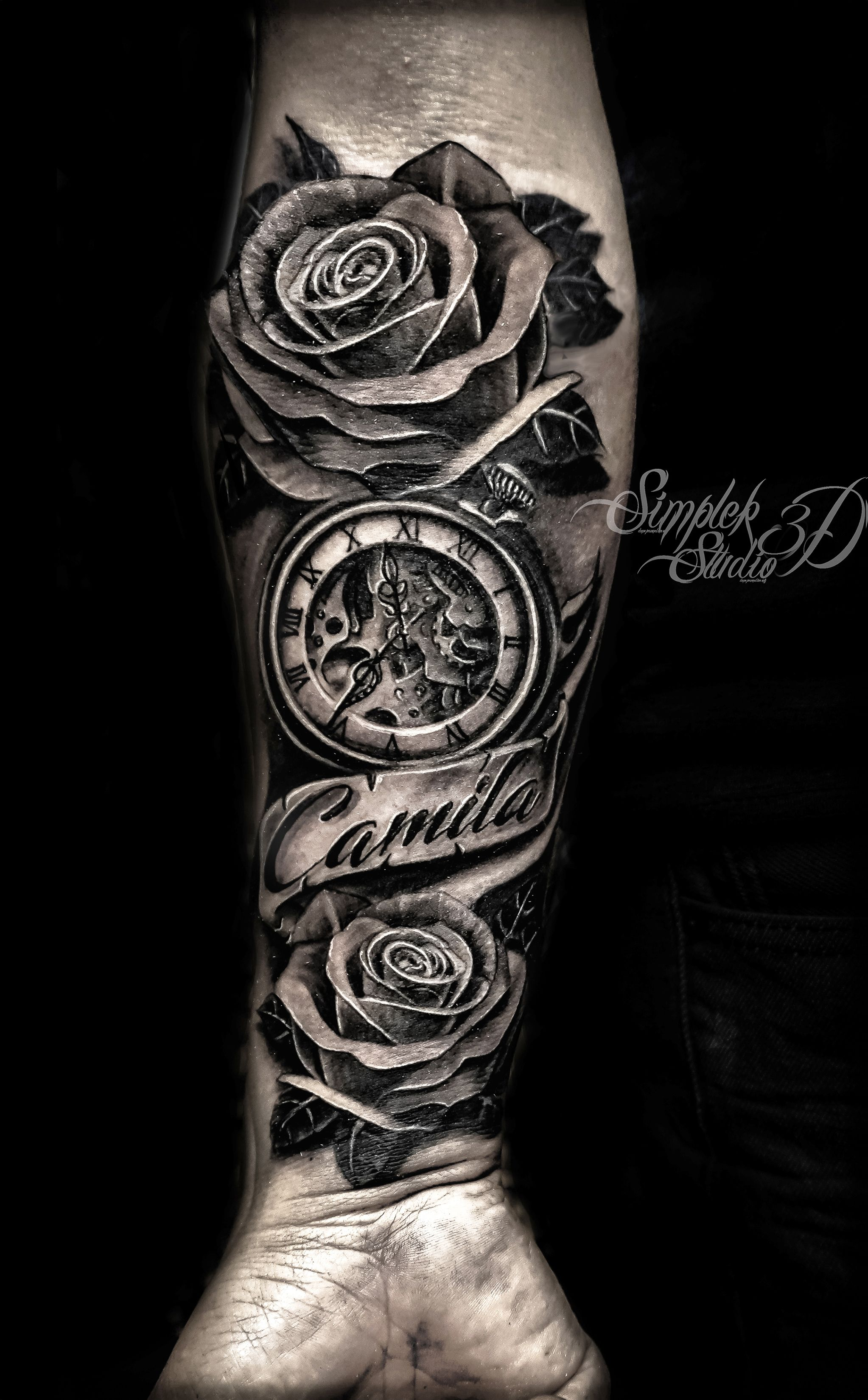Roses And Clocks Banners Personalized Forearm Tattoo Clock And