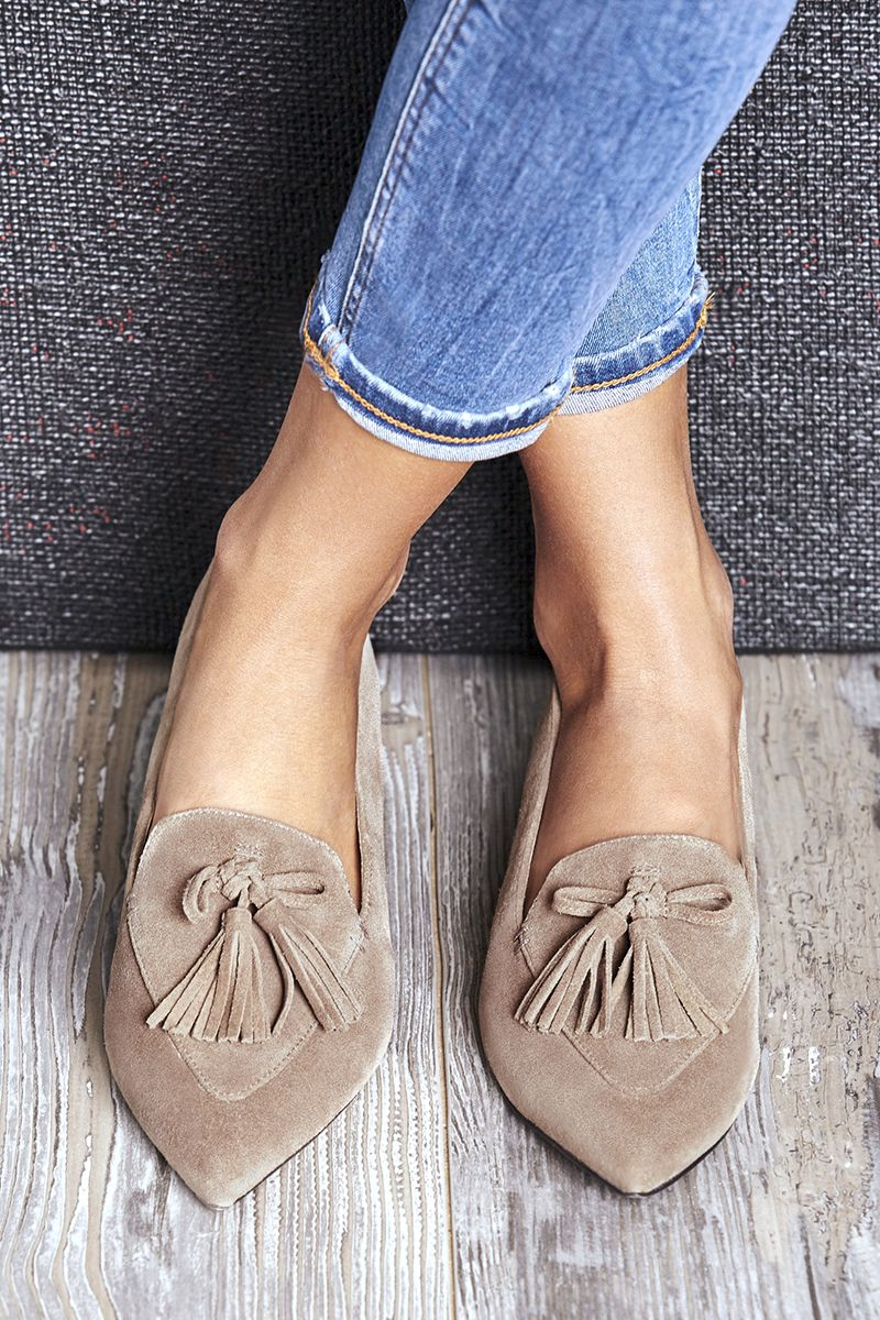 Taupe suede tassel loafers | Sole