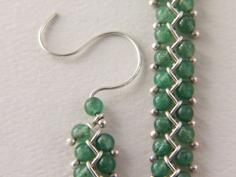 Sterling Stone Bead Earrings, Long Dangle Chain, Beadwork Earrings ...
