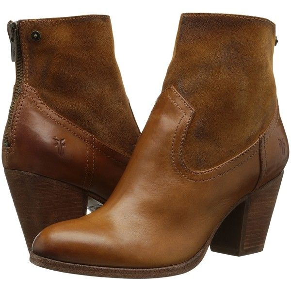 Frye Tessa Zip Short (Brown Smooth Vintage Leather/Oiled Suede) Cowboy...  ($210) ❤ liked on Polyvore featuring shoes, boots, ankle booties, ankle  boots, ...