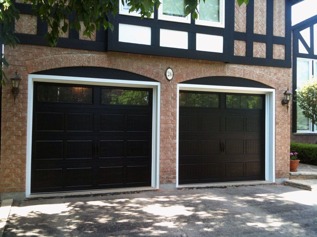 Black Garage Doors Stouffville Garage Doors Black Garage Doors Red Brick House House Exterior